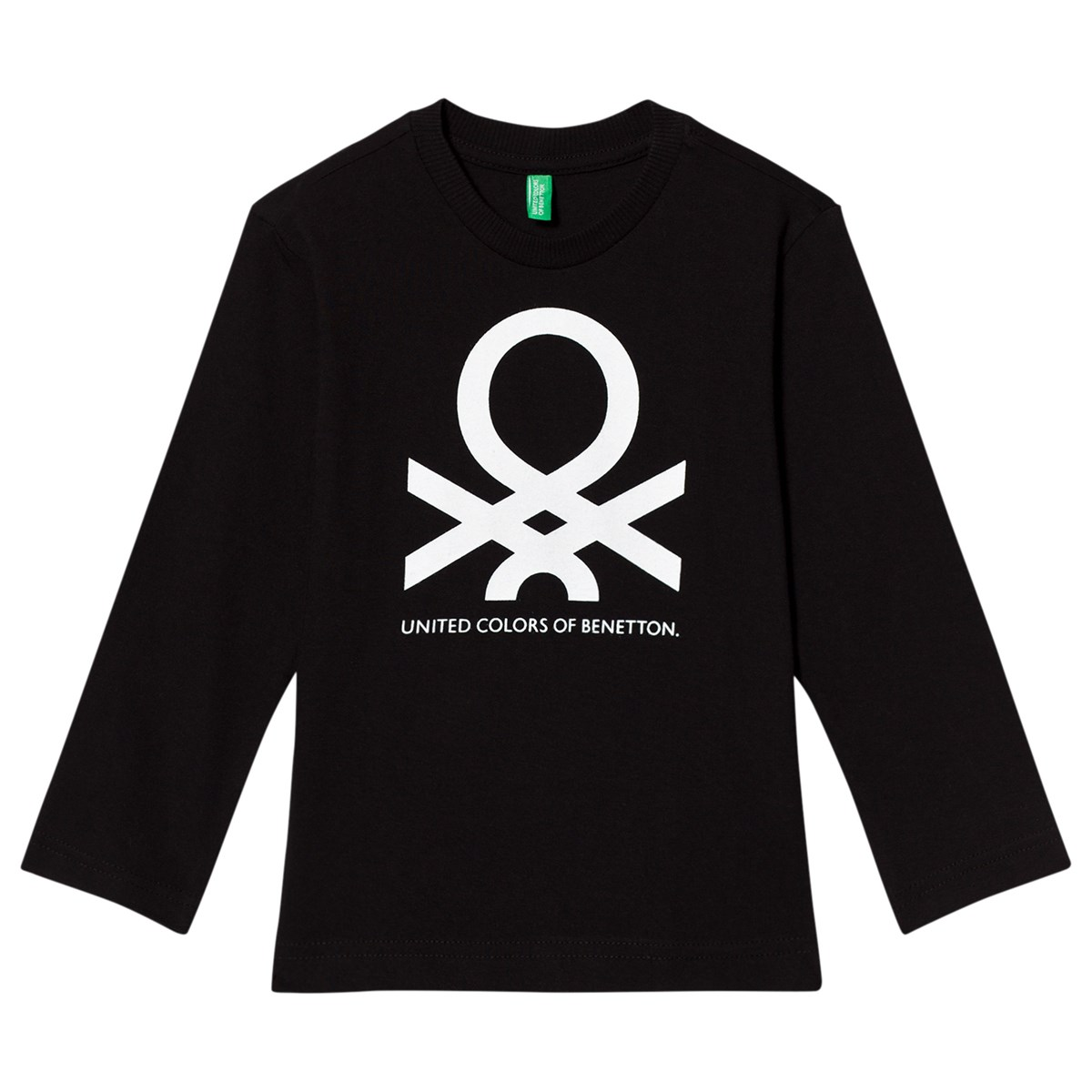 United colors of benetton long sleeve logo t shirt black for United colors of benetton online shop outlet