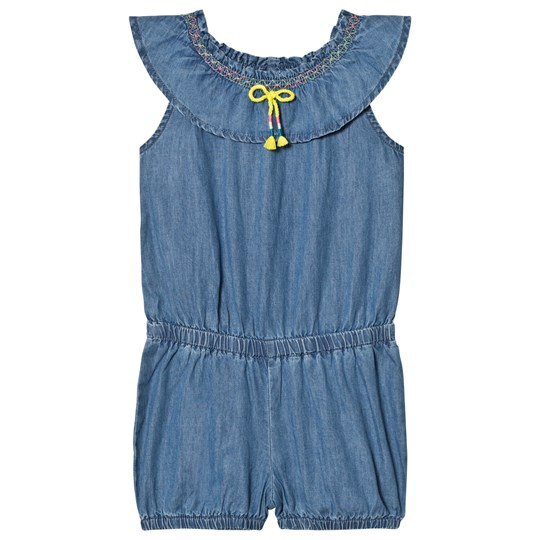 United Colors of Benetton Chambrey Denim Jumpsuit With Embroidered Frill Neck Line Blue Blue