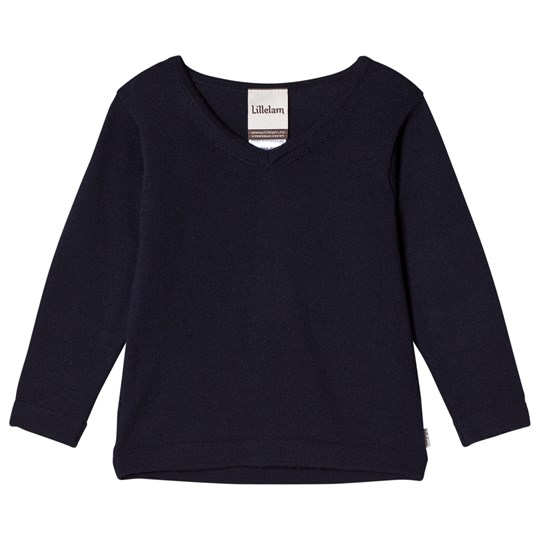Lillelam V-Neck Merino Wool Sweater Navy Marine