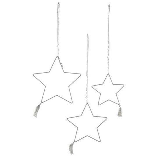 Numero 74 3 Piece Grey Star Decoration Sort