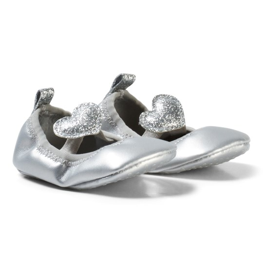 United Colors of Benetton Metallic Shoe With Glitter Heart Strap Silver Silver