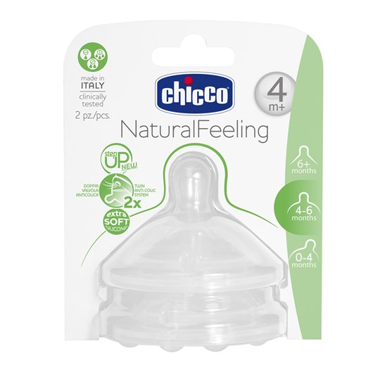 Chicco NaturalFeeling Silicone Teat 4m+ 2 Pack White