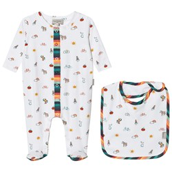 Paul Smith Junior Cream Icon Print Babygrow and Bib in a Giftbox