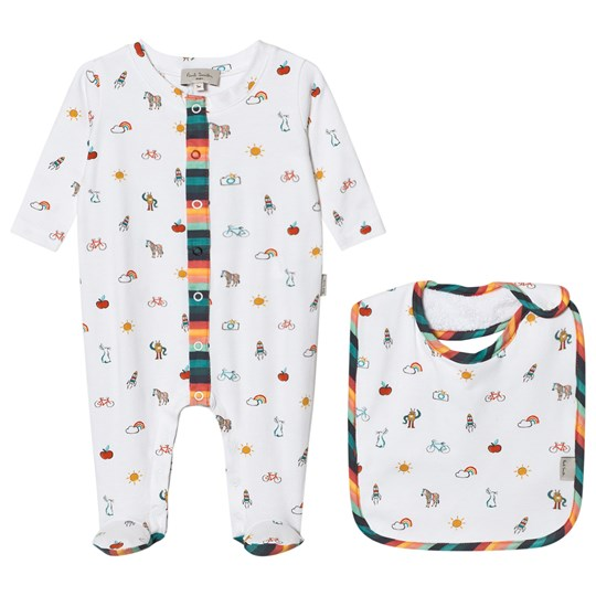 Paul Smith Junior Cream Icon Print Babygrow and Bib in a Giftbox 13