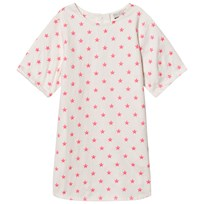 Stella McCartney Kids Exclusive White Neon Pink Embroidered Star Dress 9082