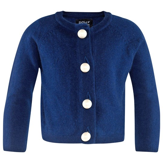 DOLLY by Le Petit Tom Pearled Up Cardigan Cashmere Navy Blå