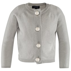 DOLLY by Le Petit Tom Pearled Up Cardigan Cashmere Silvergrey