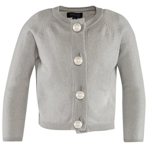 Image of DOLLY by Le Petit Tom Pearled Up Cardigan Cashmere Silvergrey Medium (6-8 år) (2743769753)