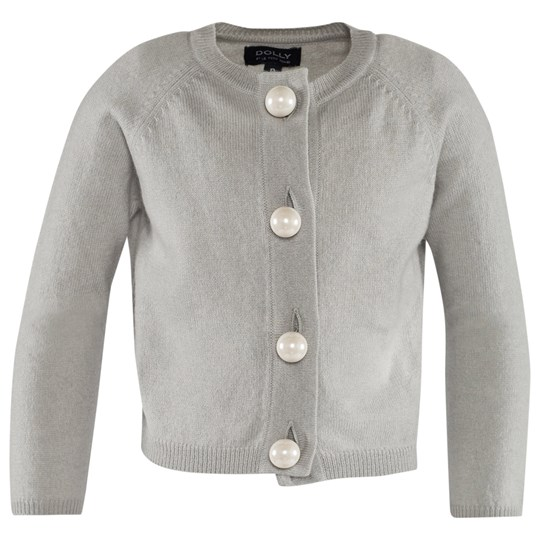 DOLLY by Le Petit Tom Pearled Up Cardigan Cashmere Silvergrey Harmaa