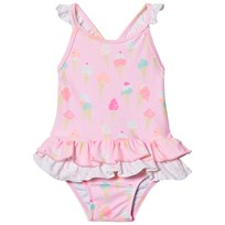 Sunuva Pink Baby Girl Ice Cream Frill Swimsuit Pink