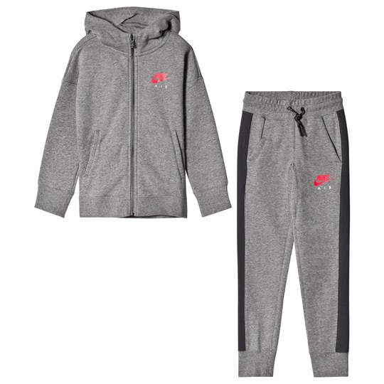 NIKE Grey Nike Air Branded Tracksuit CARBON HEATHER/ANTHRACITE/SIREN RED