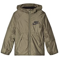 NIKE Khaki Fleece Lined Hooded Jacket MEDIUM OLIVE/BLACK/BLACK
