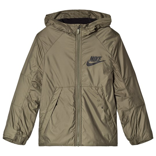 NIKE Fleece Lined Hooded Jacka Khaki MEDIUM OLIVE/BLACK/BLACK
