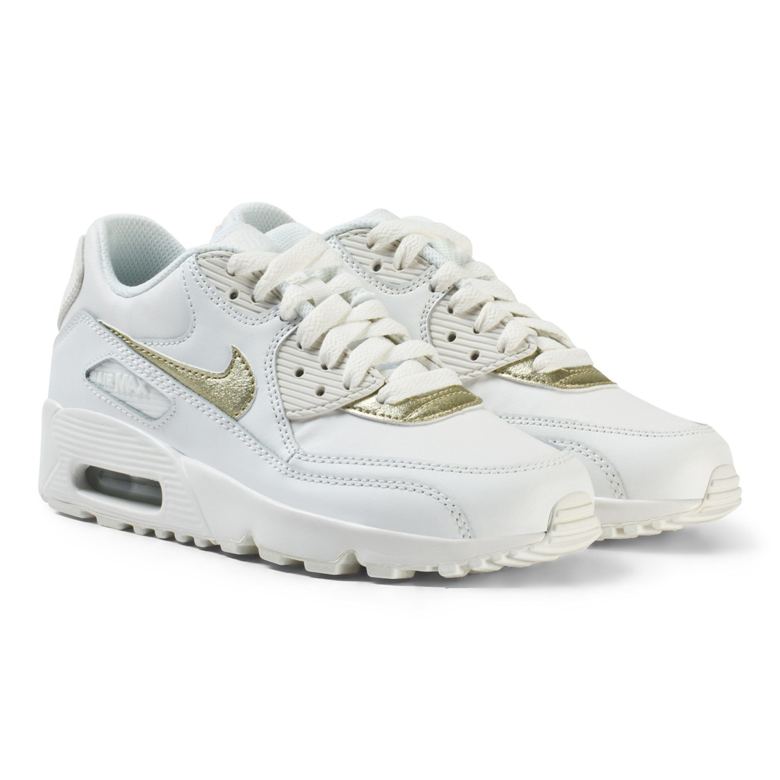 NIKE - Air Max 90 Leather Junior Sneakers White/Gold - Babyshop.com