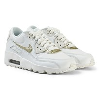 NIKE Air Max 90 Leather Junior Sneakers White/Gold SUMMIT WHITE/MTLC GOLD STAR