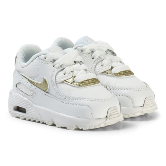 NIKE Air Max 90 Leather Infant Sneakers  White/Gold SUMMIT WHITE/MTLC GOLD STAR