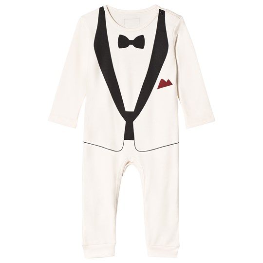 The Tiny Universe The Tiny Tux Romper Ivory off-white