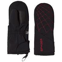 Spyder Black Colour Block Younger Overweb Ski Mitten 001 BLK/RED