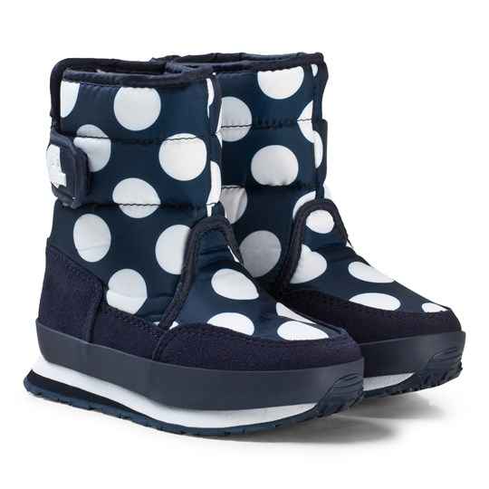 Rubber Duck Snow Jogger Boots Navy White Dot MARIN MED VITA PRICKAR