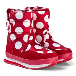 Rubber Duck Snow Jogger Boots Red White Dot