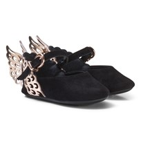 Sophia Webster Mini Black and Rose Gold Angel Wing Evangeline Baby Shoes Black & Rose Gold