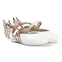 Sophia Webster Mini White and Gold Angel Wing Evangeline Shoes White & Rose Gold