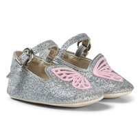 Sophia Webster Mini Silver Glitter and Pink Bibi Butterfly Baby Shoes Silver Glitter & Pink