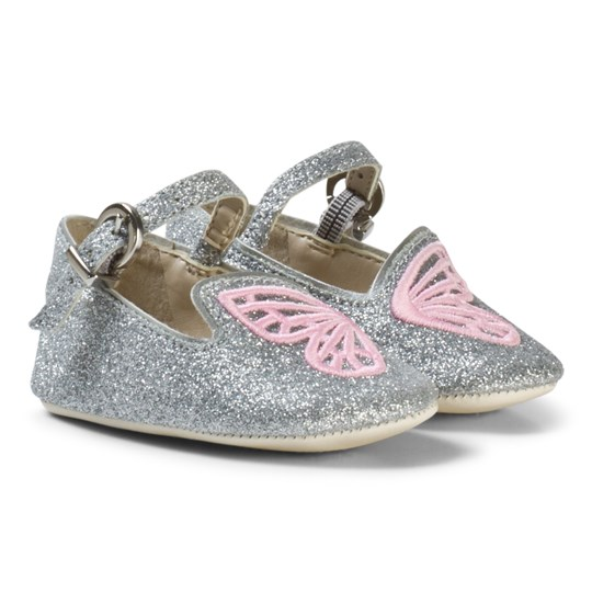 Sophia Webster Mini Silver Glitter and Pink Bibi Butterfly Crib Shoes Silver Glitter & Pink