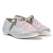 Sophia Webster Mini Silver Glitter and Pink Bibi Butterfly Mini Shoes Silver Glitter & Pink