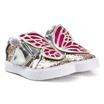 Sophia Webster Mini Multi Glitter and Fuchsia Bibi Low Top Mini Trainers Multi Gitter & Fuchsia