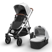 UPPAbaby VISTA Stroller Loic (White) - Silver Frame With Leather Silver