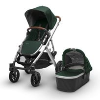 UPPAbaby VISTA Stroller Austin (Hunter Green) - Silver Frame With Leather Silver