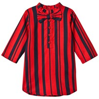 Mini Rodini Odd Stripe Bow Dress Red Red