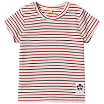 Mini Rodini Stripe Rib Short Sleeve Tee Off White White