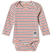 Mini Rodini Stripe Rib Baby Body Off White White