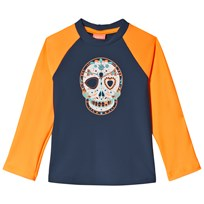 Sunuva Orange and Navy Mexican Skull Rash Vest Orange/Navy