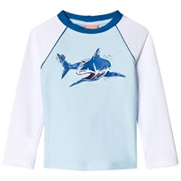 Sunuva Pale Blue and White Shark Rash Vest Pale Blue/White