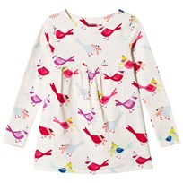 Lands End White Gathered Bird Print Tunic 6Q2