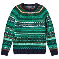 Lands End Green Fairisle Patterned Sweater 6PA
