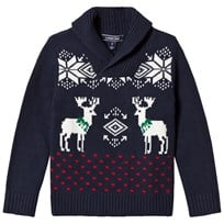 Lands End Navy Reindeer Pattern Shawl Collar Sweater 7JN