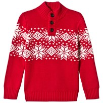 Lands End Red Snowflake Pattern Button Neck Sweater YFZ