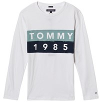 Tommy Hilfiger White and Blue Branded Long Sleeve Tee 123