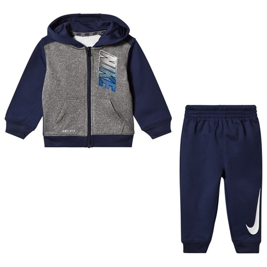 NIKE Blue and Grey Therma Fit Fz Hoody Set Binary B9K