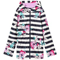 Tom Joule Navy Stripe and Floral Rubber Raincoat MARGATE FLORAL