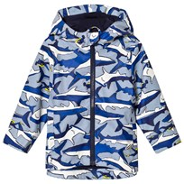 Tom Joule Blue Shark and Stripe Printed Rubber Raincoat Shark Dive Stripe