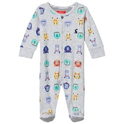 Tom Joule Grey All Over Animal Face Print Babygrow