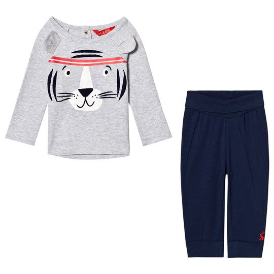 Tom Joule Grey Tiger Face with Ears Long Sleeve Tee and Navy Bottoms Set GREY TIGER