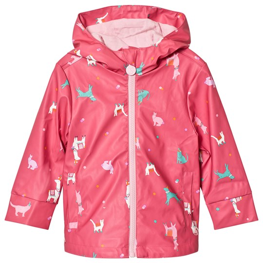 Tom Joule Pink Lama Printed Rubber Raincoat Bright Pink Festival Friends