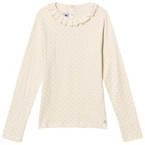 Petit Bateau Cream Ruffle Top with Glitter Spot 48