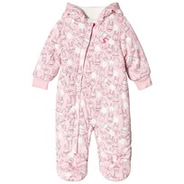 Tom Joule Pink Bunny Print Teddy Lined Pramsuit ROSE PINK BUNNY